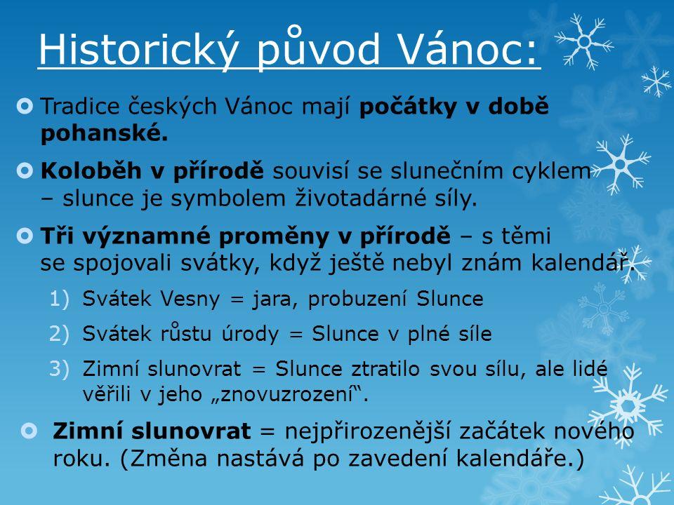 Historický původ Vánoc:  Tradice českých Vánoc mají počátky v době pohanské.