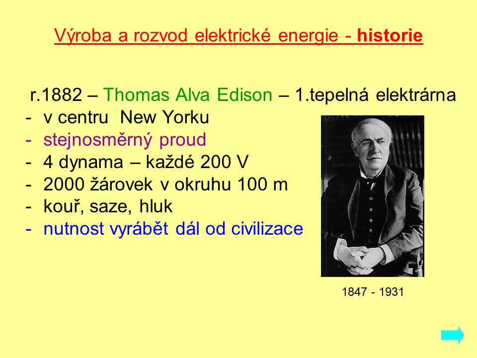 Výroba a rozvod elektrické energie - historie r.1882 – Thomas Alva Edison – 1.tepelná elektrárna -v centru New Yorku -stejnosměrný proud -4 dynama – každé 200 V -2000 žárovek v okruhu 100 m -kouř, saze, hluk -nutnost vyrábět dál od civilizace 1847 - 1931