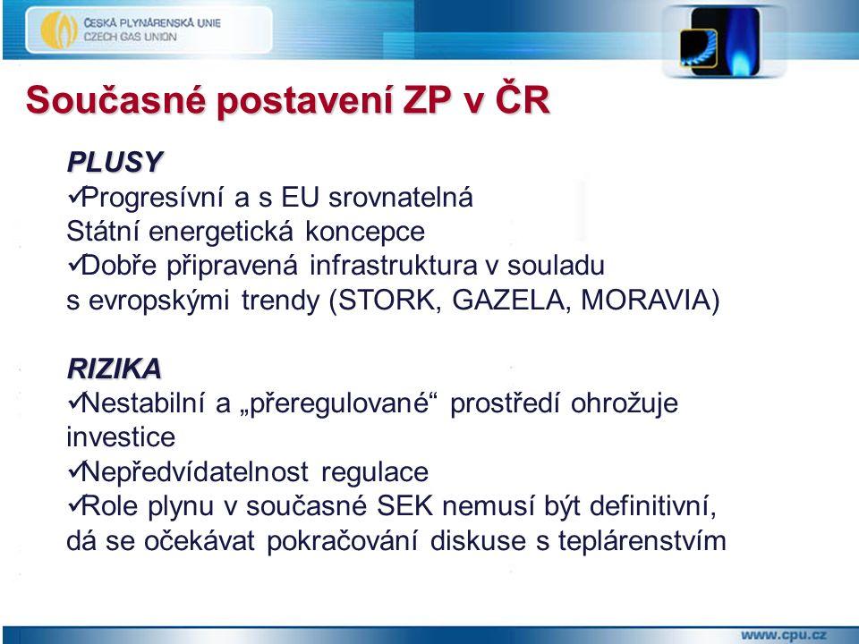 Současné postavení ZP v ČR PLUSY Progresívní a s EU srovnatelná Státní energetická koncepce Dobře připravená infrastruktura v souladu s evropskými tre