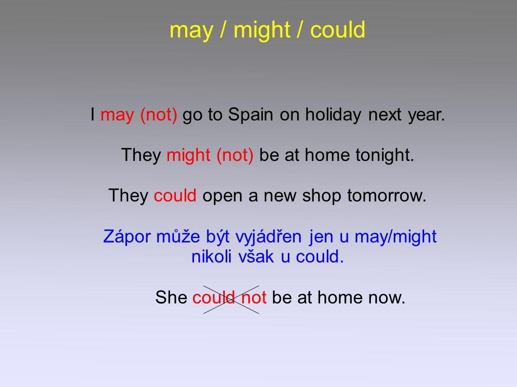 May (not), might (not), could používáme pro děje, které považujeme za možné, uskutečnitelné 1) v přítomnosti She might be at home now.