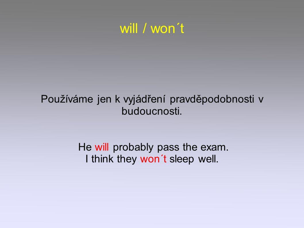 will / won´t Používáme jen k vyjádření pravděpodobnosti v budoucnosti.