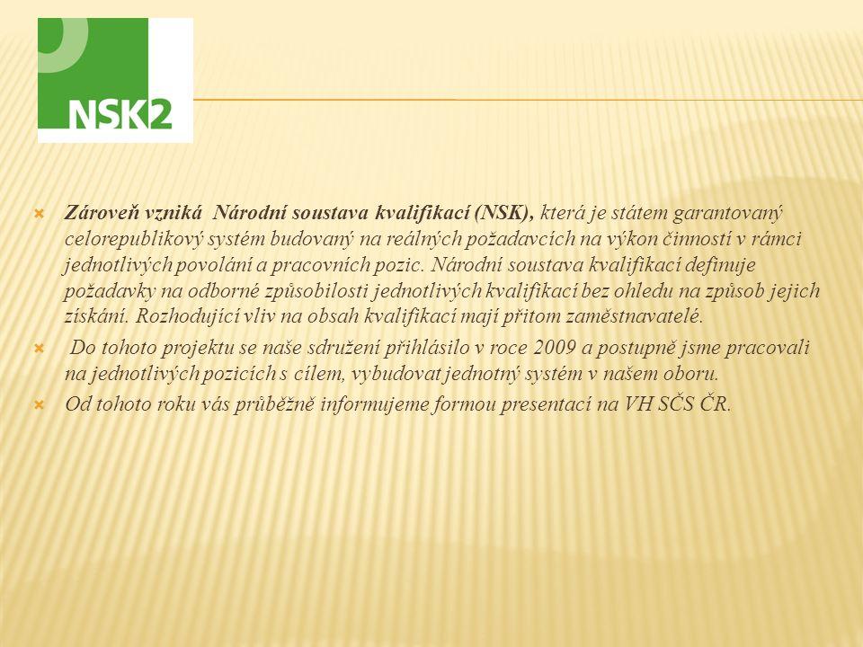  Zároveň vzniká Národní soustava kvalifikací (NSK), která je státem garantovaný celorepublikový systém budovaný na reálných požadavcích na výkon činn