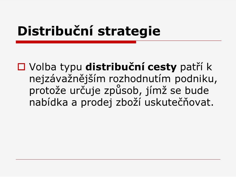 Distribuční strategie  Volba typu distribuční cesty patří k nejzávažnějším rozhodnutím podniku, protože určuje způsob, jímž se bude nabídka a prodej zboží uskutečňovat.