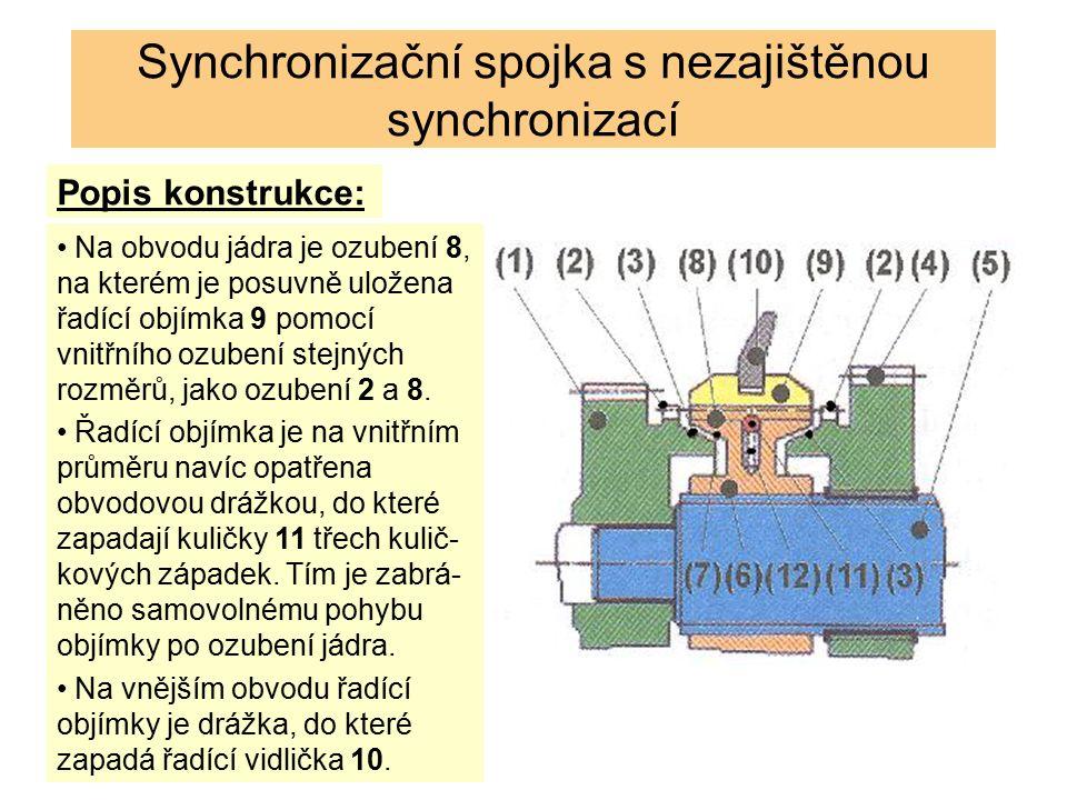 Synchronizační spojka s nezajištěnou synchronizací Popis konstrukce: Na obvodu jádra je ozubení 8, na kterém je posuvně uložena řadící objímka 9 pomocí vnitřního ozubení stejných rozměrů, jako ozubení 2 a 8.