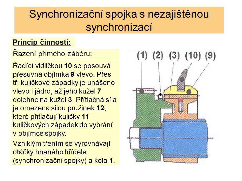 Synchronizační spojka s nezajištěnou synchronizací Po vyrovnání otáček, čemuž musí dát řidič čas, zvýšenou silou na řadící páce pro překonání přítlačné síly kuličkových západek se dalším pohybem přesuvné objímky 9 do unášecího ozubení 2 spojí hnací hřídel s hnaným.