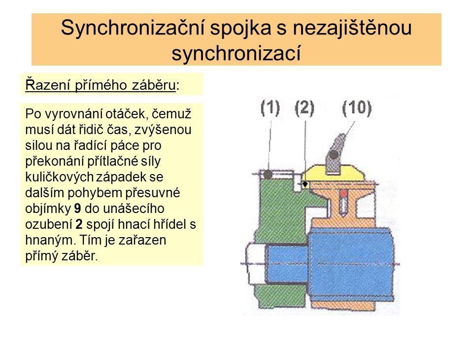 Synchronizační spojka pracuje stejně jako v předešlém případě.