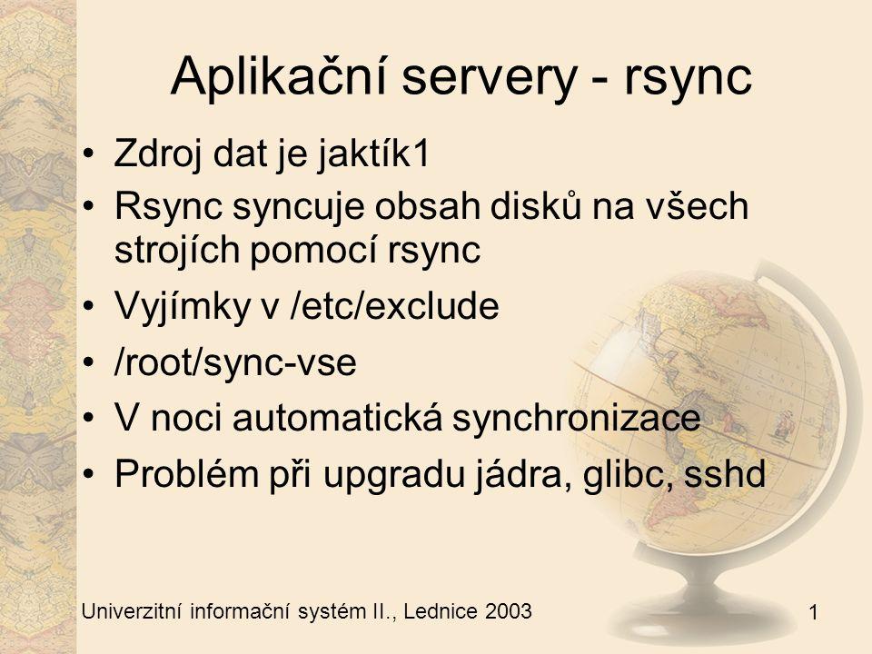 1 Univerzitní informační systém II., Lednice 2003 Aplikační servery - zálohování 14 redundantních strojů Na T6 je stav /uis 5h po hodině zpět Na T7 se ukládá / den zpět Týdně – fullbackup jaktík1 Děnně kritické věci z T7