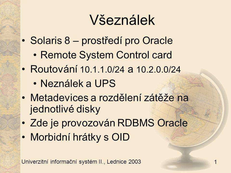 1 Univerzitní informační systém II., Lednice 2003 Neználek Solaris 8 – prostředí pro Oracle Oracle pro SIF, STABLE a UNSTABLE Diskové pole a rozdělení zátěže na jednotlivé disky Zde je provozován RDBMS Oracle Záloha všeználka