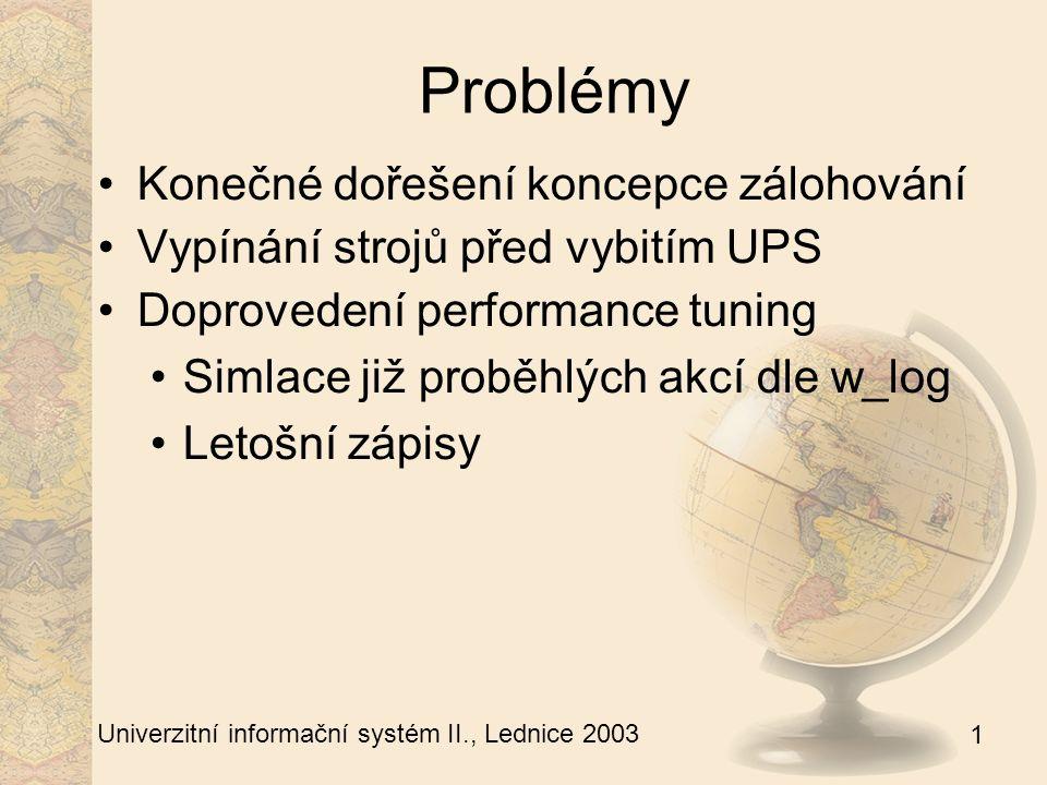 1 Univerzitní informační systém II., Lednice 2003 Děkuji za pozornost. Dotazy ?