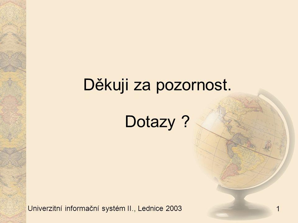 1 Univerzitní informační systém II., Lednice 2003 Děkuji za pozornost. Dotazy