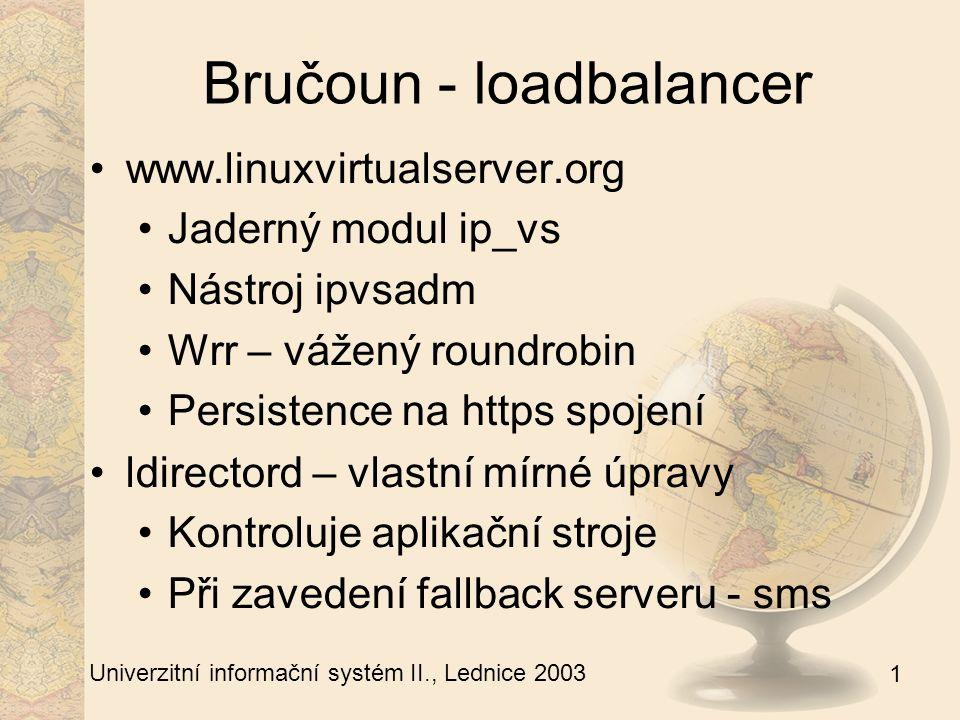 1 Univerzitní informační systém II., Lednice 2003 Bručoun - taktizování Vyhrazené stroje pro VIP ip adresy Vlastní virtuální server v LVS Spolupráce v iptables – MARK /etc/taktizovani.conf – seznam IP Taktizovani stop|start|list
