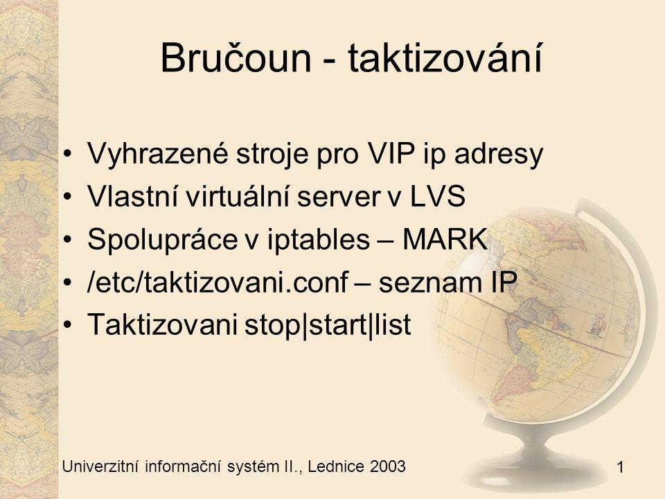 1 Univerzitní informační systém II., Lednice 2003 Bručoun - zbytek TRIPWIRE Zálohování Kritické věci dle /etc/backup Jednou týdně fullbackup Syslog-ng Newlogcheck – vlastní úpravy VPN pomocí - Cipe
