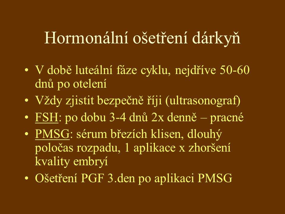 Hormonální ošetření dárkyň V době luteální fáze cyklu, nejdříve 50-60 dnů po otelení Vždy zjistit bezpečně říji (ultrasonograf) FSH: po dobu 3-4 dnů 2x denně – pracné PMSG: sérum březích klisen, dlouhý poločas rozpadu, 1 aplikace x zhoršení kvality embryí Ošetření PGF 3.den po aplikaci PMSG