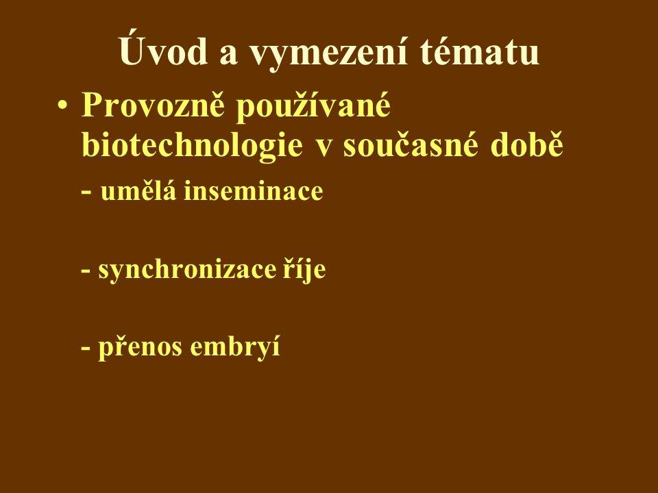 Úvod a vymezení tématu Provozně používané biotechnologie v současné době - umělá inseminace - synchronizace říje - přenos embryí
