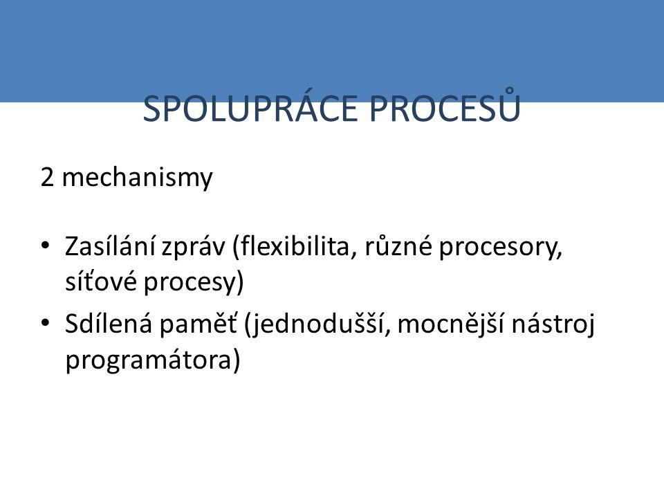 SPOLUPRÁCE PROCESŮ 2 mechanismy Zasílání zpráv (flexibilita, různé procesory, síťové procesy) Sdílená paměť (jednodušší, mocnější nástroj programátora)