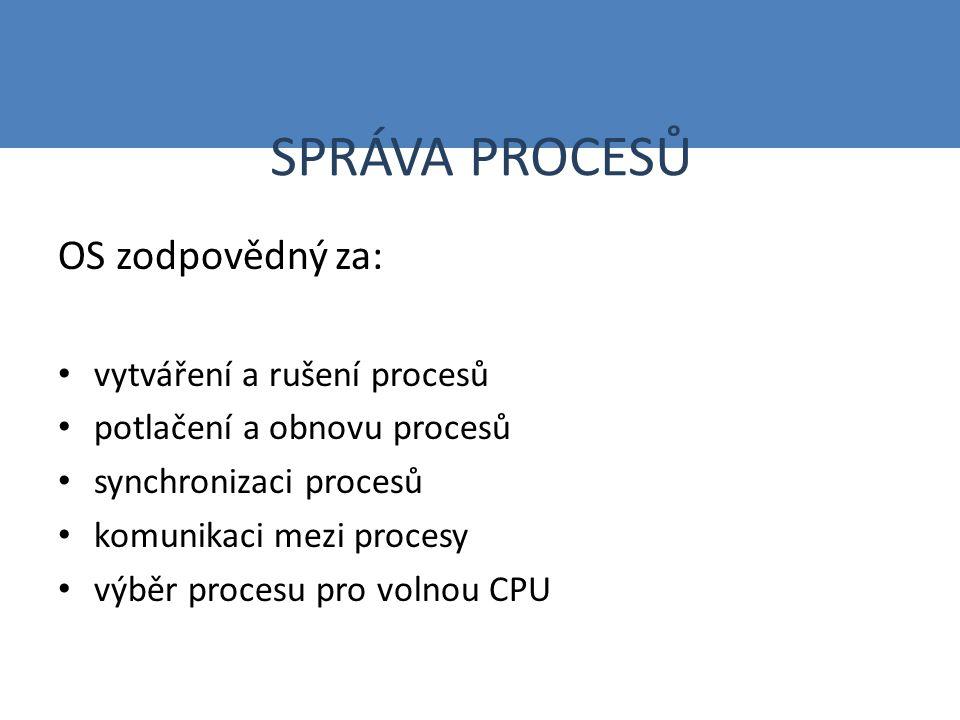 SPRÁVA PROCESŮ OS zodpovědný za: vytváření a rušení procesů potlačení a obnovu procesů synchronizaci procesů komunikaci mezi procesy výběr procesu pro volnou CPU