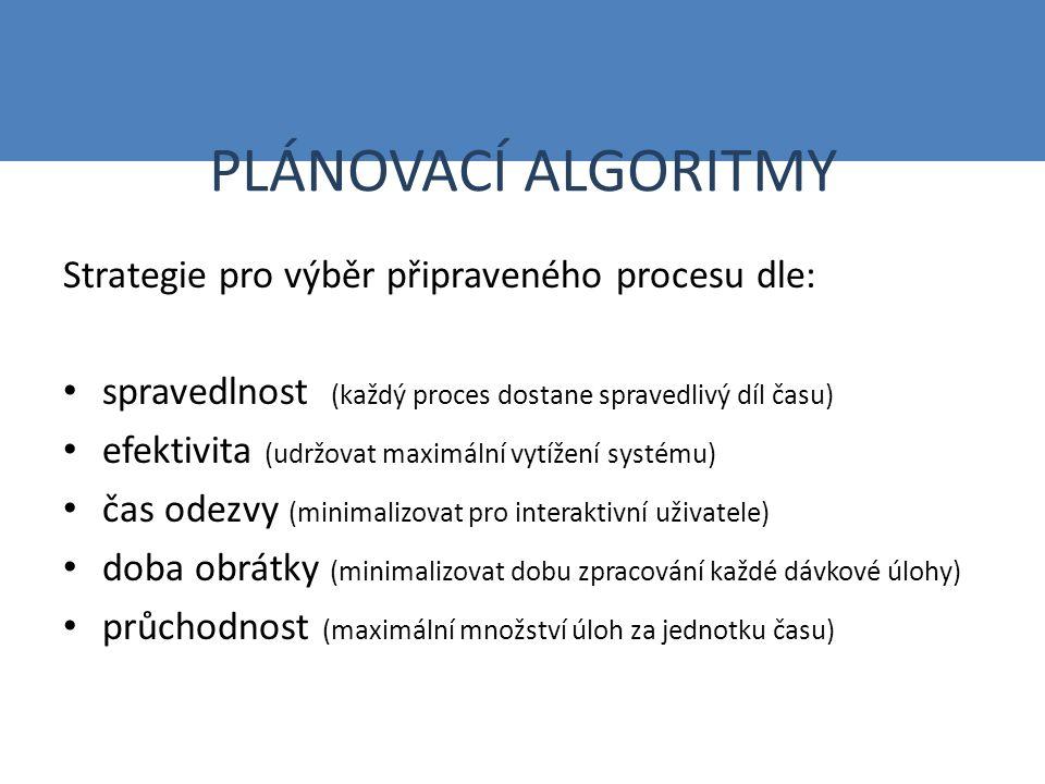 PLÁNOVACÍ ALGORITMY Strategie pro výběr připraveného procesu dle: spravedlnost (každý proces dostane spravedlivý díl času) efektivita (udržovat maximální vytížení systému) čas odezvy (minimalizovat pro interaktivní uživatele) doba obrátky (minimalizovat dobu zpracování každé dávkové úlohy) průchodnost (maximální množství úloh za jednotku času)