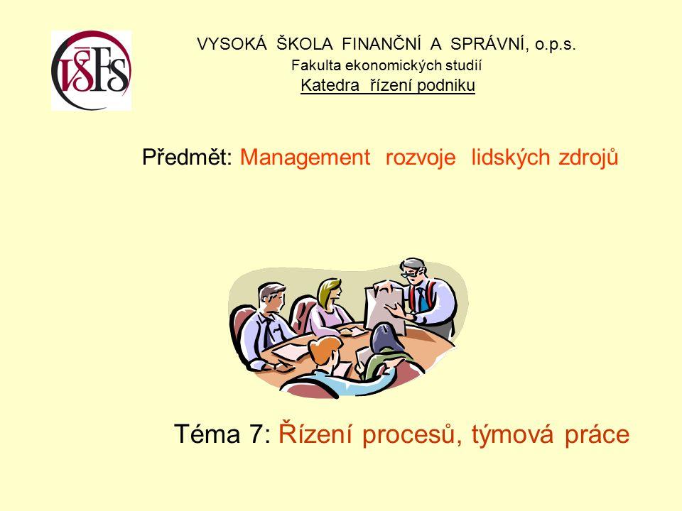 Předmět: Management rozvoje lidských zdrojů Téma 7: Řízení procesů, týmová práce VYSOKÁ ŠKOLA FINANČNÍ A SPRÁVNÍ, o.p.s.