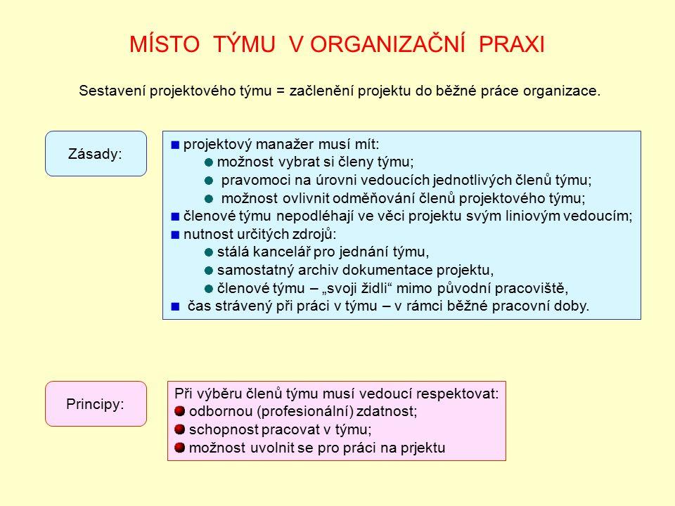 MÍSTO TÝMU V ORGANIZAČNÍ PRAXI Sestavení projektového týmu = začlenění projektu do běžné práce organizace.