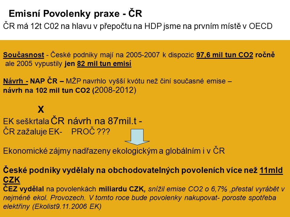Současnost - České podniky mají na 2005-2007 k dispozic 97,6 mil tun CO2 ročně ale 2005 vypustily jen 82 mil tun emisí Návrh - NAP ČR – MŽP navrhlo vyšší kvótu než činí současné emise – návrh na 102 mil tun CO2 ( 2008-2012) X EK seškrtala ČR návrh na 87mil.t - ČR zažaluje EK- PROČ .
