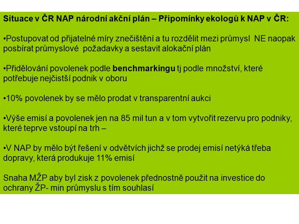 Situace v ČR NAP národní akční plán – Připomínky ekologů k NAP v ČR: Postupovat od přijatelné míry znečištění a tu rozdělit mezi průmysl NE naopak pos