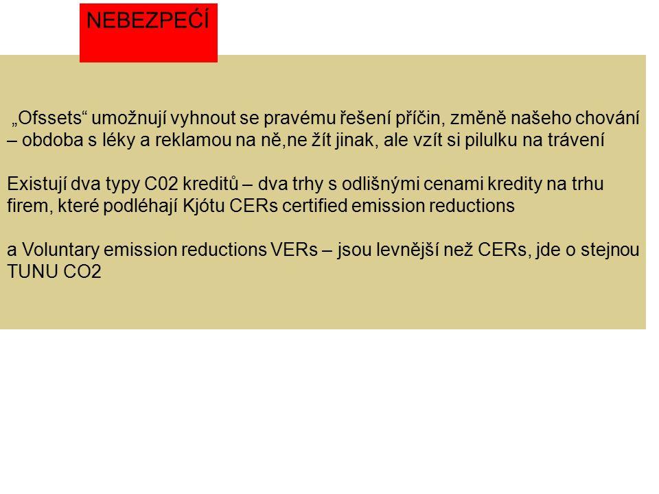 """""""Ofssets umožnují vyhnout se pravému řešení příčin, změně našeho chování – obdoba s léky a reklamou na ně,ne žít jinak, ale vzít si pilulku na trávení Existují dva typy C02 kreditů – dva trhy s odlišnými cenami kredity na trhu firem, které podléhají Kjótu CERs certified emission reductions a Voluntary emission reductions VERs – jsou levnější než CERs, jde o stejnou TUNU CO2 NEBEZPEĆÍ"""