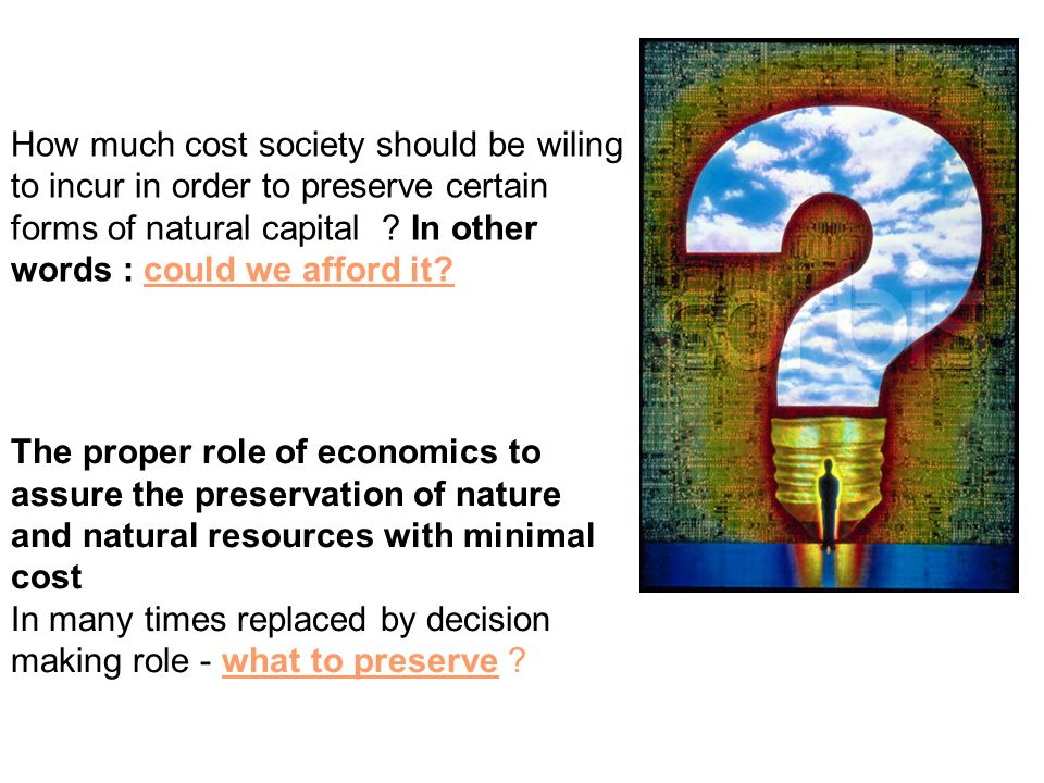 How much cost society should be wiling to incur in order to preserve certain forms of natural capital .