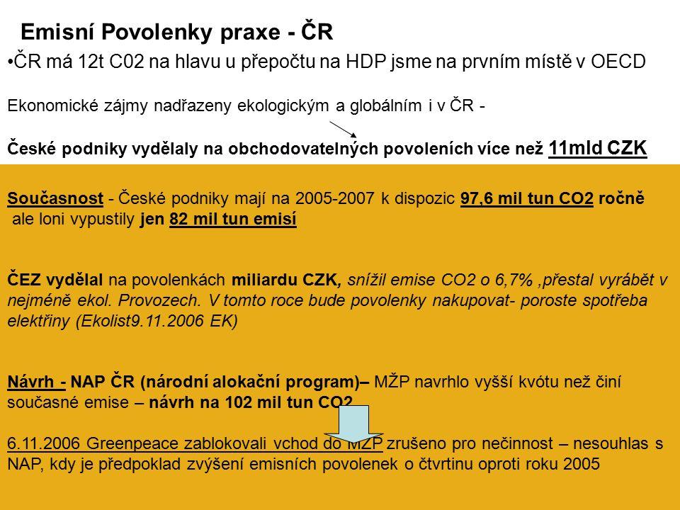 Současnost - České podniky mají na 2005-2007 k dispozic 97,6 mil tun CO2 ročně ale loni vypustily jen 82 mil tun emisí ČEZ vydělal na povolenkách miliardu CZK, snížil emise CO2 o 6,7%,přestal vyrábět v nejméně ekol.