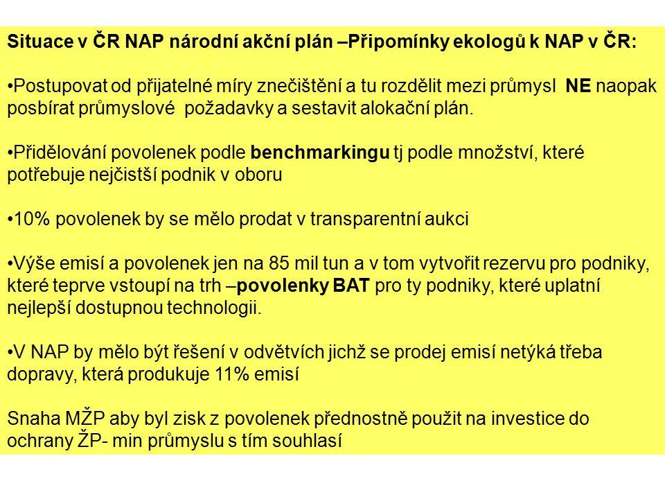Situace v ČR NAP národní akční plán –Připomínky ekologů k NAP v ČR: Postupovat od přijatelné míry znečištění a tu rozdělit mezi průmysl NE naopak posbírat průmyslové požadavky a sestavit alokační plán.