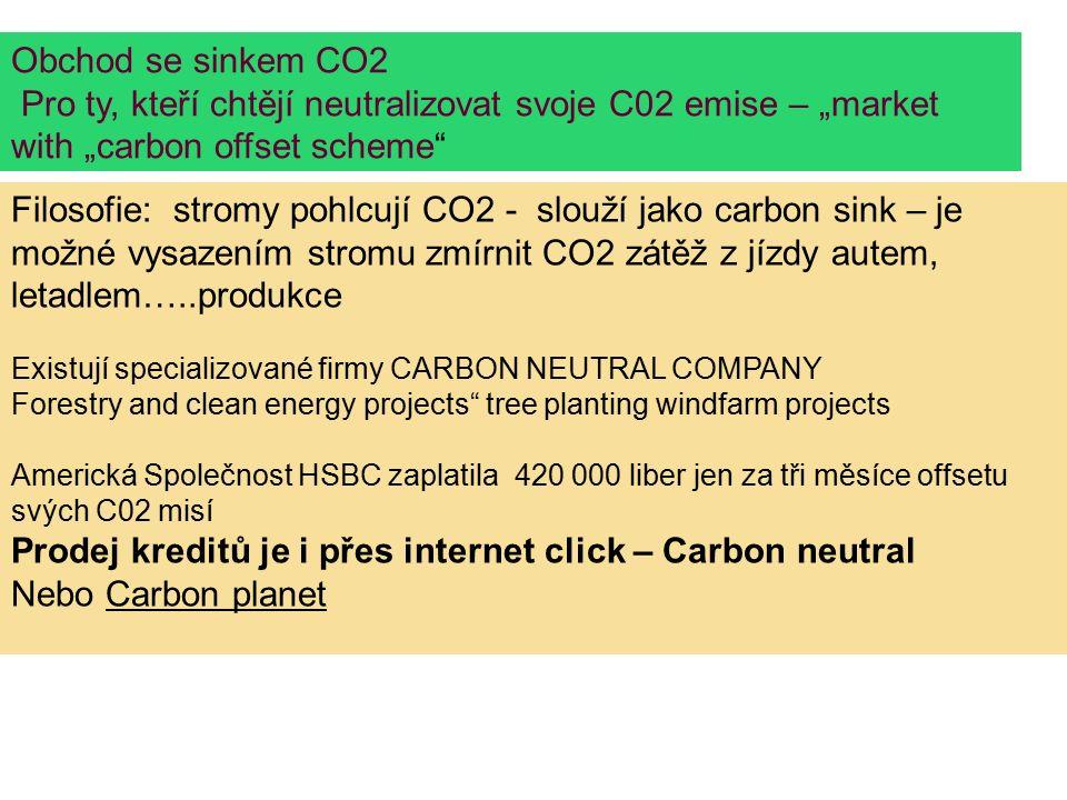 """Obchod se sinkem CO2 Pro ty, kteří chtějí neutralizovat svoje C02 emise – """"market with """"carbon offset scheme Filosofie: stromy pohlcují CO2 - slouží jako carbon sink – je možné vysazením stromu zmírnit CO2 zátěž z jízdy autem, letadlem…..produkce Existují specializované firmy CARBON NEUTRAL COMPANY Forestry and clean energy projects tree planting windfarm projects Americká Společnost HSBC zaplatila 420 000 liber jen za tři měsíce offsetu svých C02 misí Prodej kreditů je i přes internet click – Carbon neutral Nebo Carbon planet"""