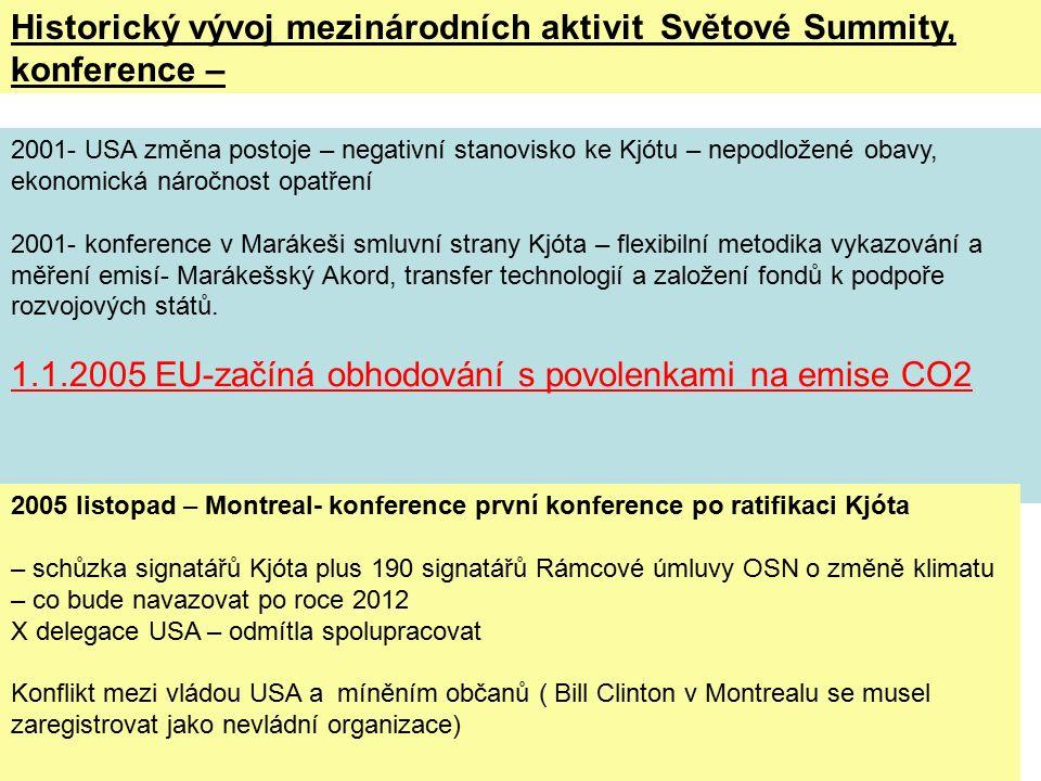 2001- USA změna postoje – negativní stanovisko ke Kjótu – nepodložené obavy, ekonomická náročnost opatření 2001- konference v Marákeši smluvní strany