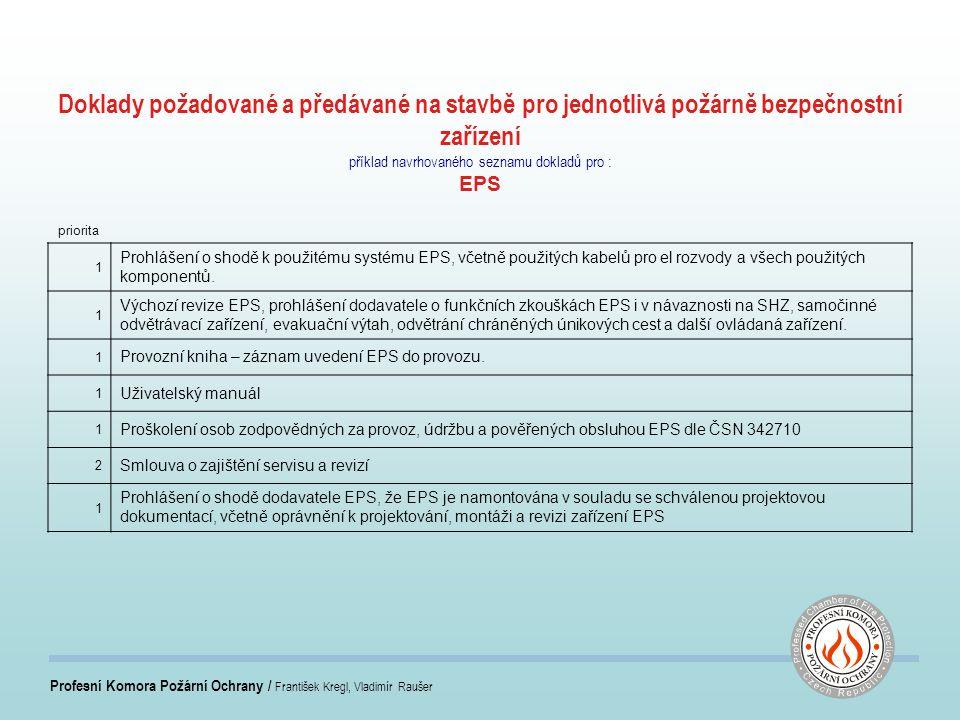 Profesní Komora Požární Ochrany / František Kregl, Vladimír Raušer Doklady požadované a předávané na stavbě pro jednotlivá požárně bezpečnostní zařízení příklad navrhovaného seznamu dokladů pro : EPS priorita 1 Prohlášení o shodě k použitému systému EPS, včetně použitých kabelů pro el rozvody a všech použitých komponentů.