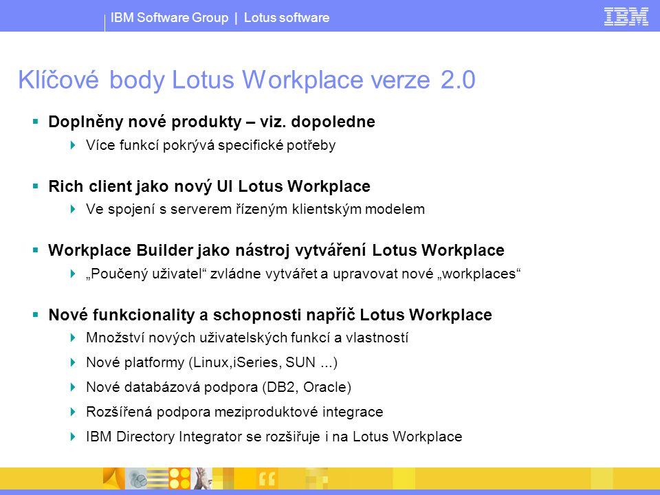 IBM Software Group | Lotus software Klíčové body Lotus Workplace verze 2.0  Doplněny nové produkty – viz.