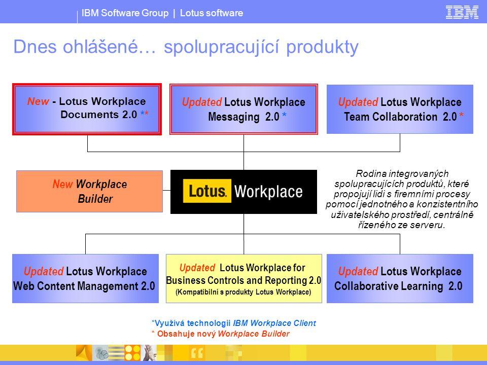 IBM Software Group | Lotus software *Využívá technologii IBM Workplace Client * Obsahuje nový Workplace Builder Updated Lotus Workplace Messaging 2.0 * Updated Lotus Workplace Team Collaboration 2.0 * Updated Lotus Workplace Web Content Management 2.0 Updated Lotus Workplace Collaborative Learning 2.0 Updated Lotus Workplace for Business Controls and Reporting 2.0 (Kompatibilní s produkty Lotus Workplace) Rodina integrovaných spolupracujících produktů, které propojují lidi s firemními procesy pomocí jednotného a konzistentního uživatelského prostředí, centrálně řízeného ze serveru.