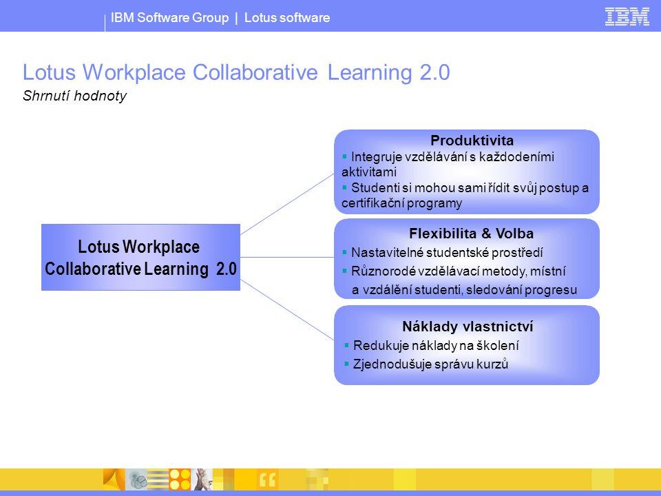 IBM Software Group | Lotus software Lotus Workplace Collaborative Learning 2.0 Shrnutí hodnoty Lotus Workplace Collaborative Learning 2.0 Produktivita  Integruje vzdělávání s každodeními aktivitami  Studenti si mohou sami řídit svůj postup a certifikační programy Náklady vlastnictví  Redukuje náklady na školení  Zjednodušuje správu kurzů Flexibilita & Volba  Nastavitelné studentské prostředí  Různorodé vzdělávací metody, místní a vzdálění studenti, sledování progresu