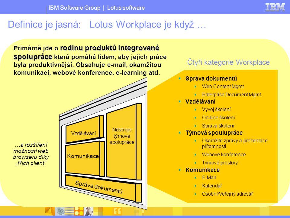 IBM Software Group | Lotus software Vzdělávání Nástroje týmové spolupráce Komunikace Správa dokumentů rodinu produktů integrované spolupráce Primárně jde o rodinu produktů integrované spolupráce která pomáhá lidem, aby jejich práce byla produktivnější.