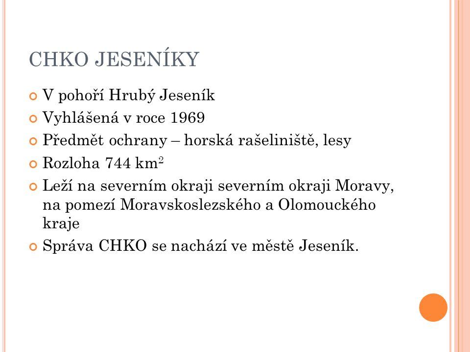 CHKO JESENÍKY V pohoří Hrubý Jeseník Vyhlášená v roce 1969 Předmět ochrany – horská rašeliniště, lesy Rozloha 744 km 2 Leží na severním okraji severním okraji Moravy, na pomezí Moravskoslezského a Olomouckého kraje Správa CHKO se nachází ve městě Jeseník.