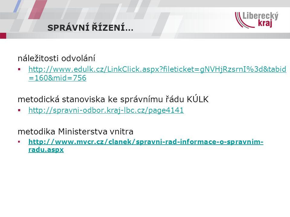 SPRÁVNÍ ŘÍZENÍ… náležitosti odvolání  http://www.edulk.cz/LinkClick.aspx?fileticket=gNVHjRzsrnI%3d&tabid =160&mid=756 http://www.edulk.cz/LinkClick.a