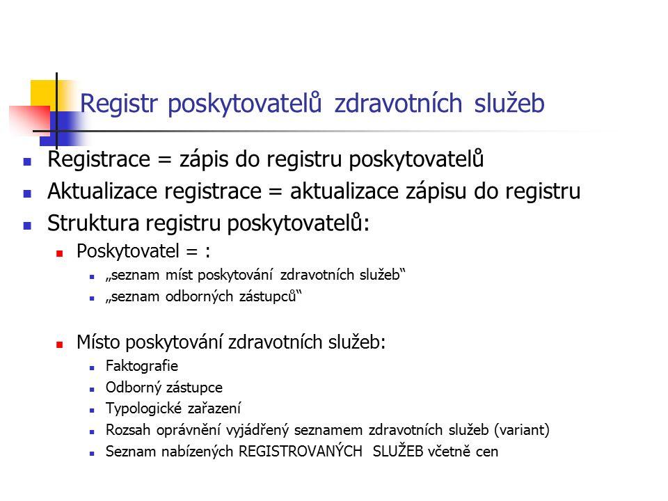 """Registr poskytovatelů zdravotních služeb Registrace = zápis do registru poskytovatelů Aktualizace registrace = aktualizace zápisu do registru Struktura registru poskytovatelů: Poskytovatel = : """"seznam míst poskytování zdravotních služeb """"seznam odborných zástupců Místo poskytování zdravotních služeb: Faktografie Odborný zástupce Typologické zařazení Rozsah oprávnění vyjádřený seznamem zdravotních služeb (variant) Seznam nabízených REGISTROVANÝCH SLUŽEB včetně cen"""