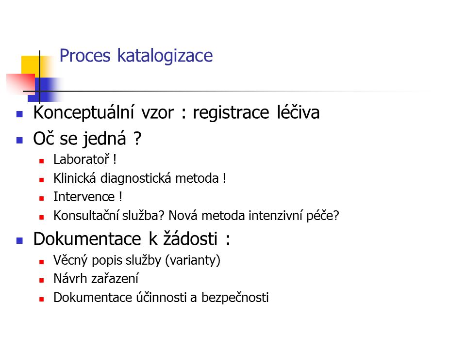 Proces katalogizace Správní řízení Žádost o zařazení zdravotní služby do katalogu Žádost o zařazení varianty zdravotní služby do katalogu Žádost o změnu definice varianty zdravotní služby (?) Návrh na vyřazení zdravotní služby (varianty) z katalogu ?.