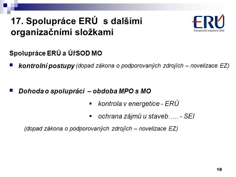 17. Spolupráce ERÚ s dalšími organizačními složkami Spolupráce ERÚ a ÚřSOD MO kontrolní postupy (dopad zákona o podporovaných zdrojích – novelizace EZ