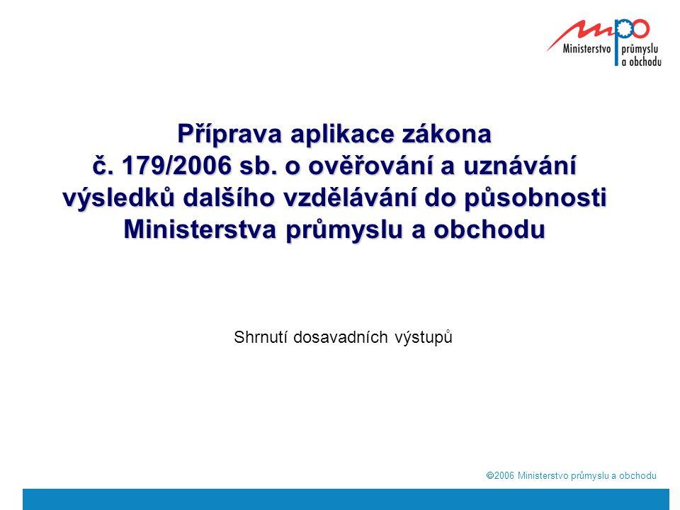  2006  Ministerstvo průmyslu a obchodu Příprava aplikace zákona č.