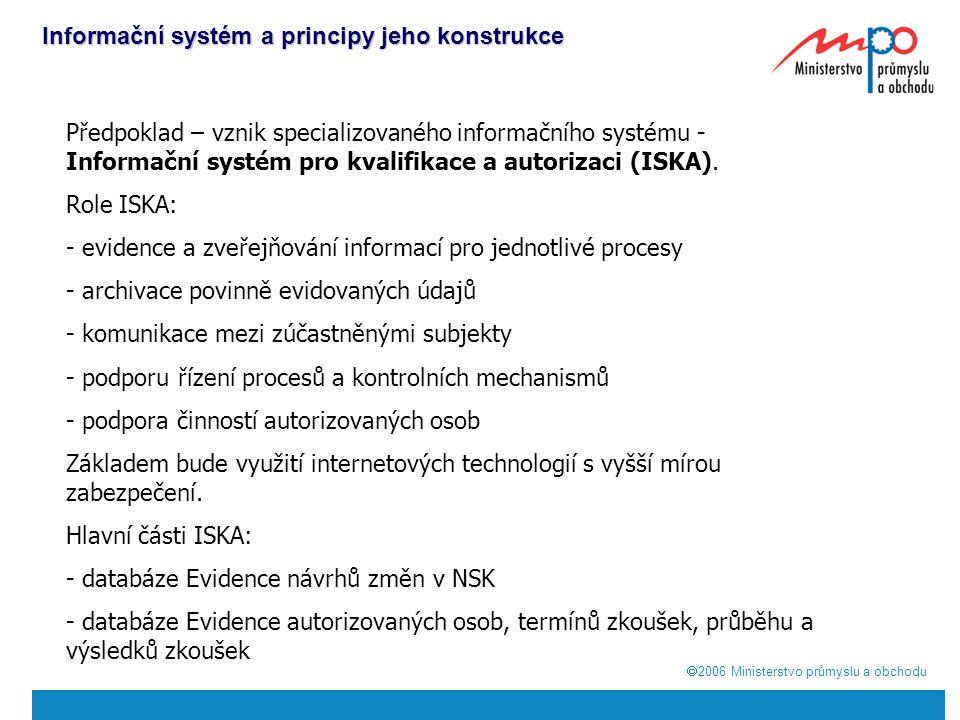  2006  Ministerstvo průmyslu a obchodu Informační systém a principy jeho konstrukce Předpoklad – vznik specializovaného informačního systému - Informační systém pro kvalifikace a autorizaci (ISKA).