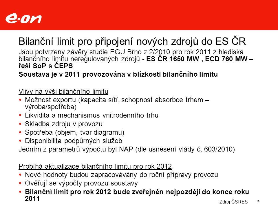 19 Bilanční limit pro připojení nových zdrojů do ES ČR Jsou potvrzeny závěry studie EGU Brno z 2/2010 pro rok 2011 z hlediska bilančního limitu neregulovaných zdrojů - ES ČR 1650 MW, ECD 760 MW – řeší SoP s ČEPS Soustava je v 2011 provozována v blízkosti bilančního limitu Vlivy na výši bilančního limitu  Možnost exportu (kapacita sítí, schopnost absorbce trhem – výroba/spotřeba)  Likvidita a mechanismus vnitrodenního trhu  Skladba zdrojů v provozu  Spotřeba (objem, tvar diagramu)  Disponibilita podpůrných služeb Jedním z parametrů výpočtu byl NAP (dle usnesení vlády č.