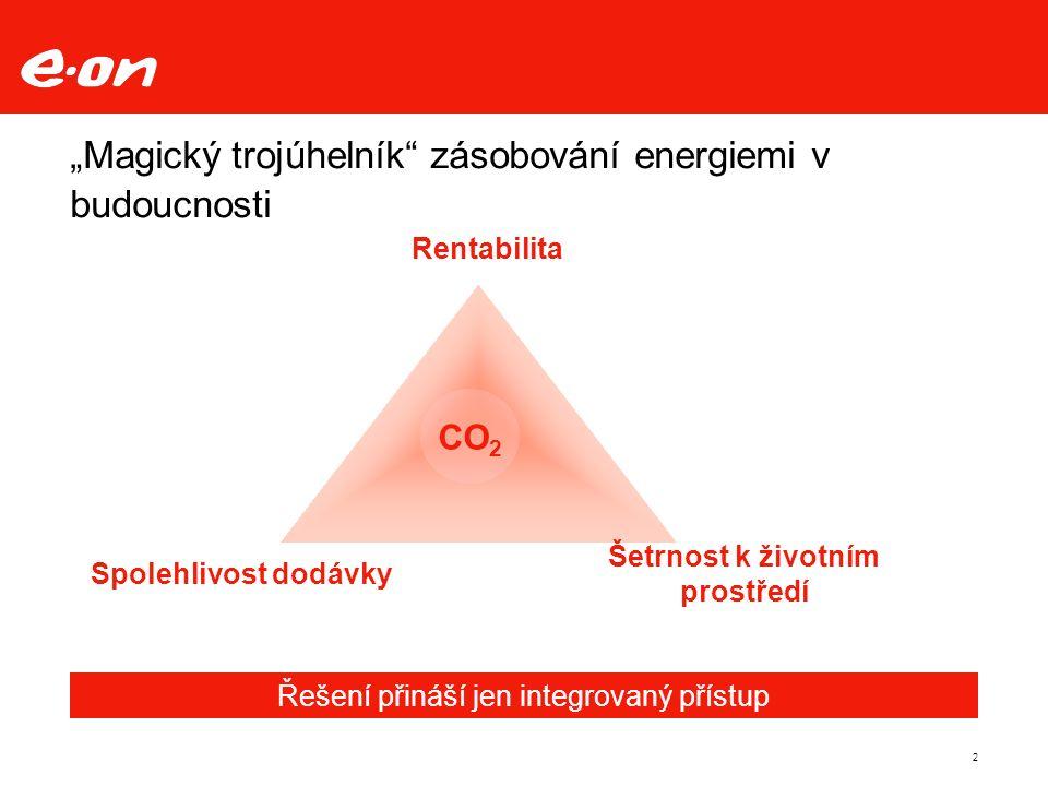 """2 """"Magický trojúhelník zásobování energiemi v budoucnosti Šetrnost k životním prostředí Rentabilita Spolehlivost dodávky Řešení přináší jen integrovaný přístup CO 2"""