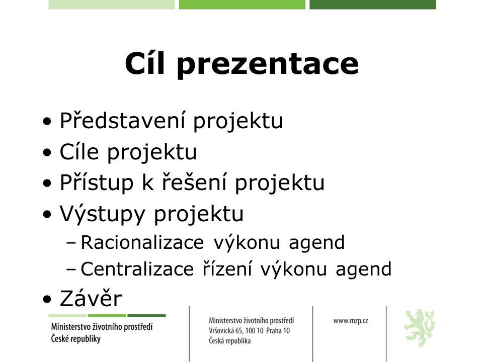 Cíl prezentace Představení projektu Cíle projektu Přístup k řešení projektu Výstupy projektu –Racionalizace výkonu agend –Centralizace řízení výkonu agend Závěr