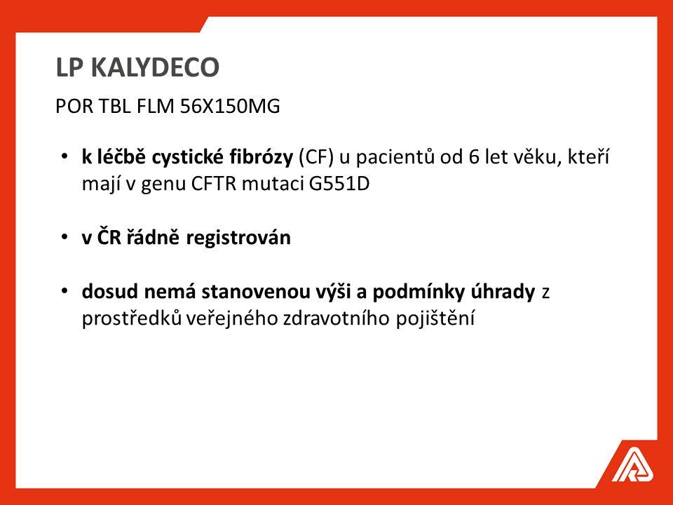 LP KALYDECO k léčbě cystické fibrózy (CF) u pacientů od 6 let věku, kteří mají v genu CFTR mutaci G551D v ČR řádně registrován dosud nemá stanovenou výši a podmínky úhrady z prostředků veřejného zdravotního pojištění POR TBL FLM 56X150MG