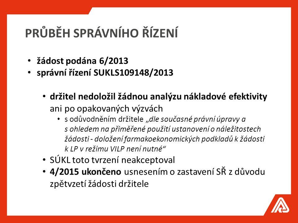 """PRŮBĚH SPRÁVNÍHO ŘÍZENÍ žádost podána 6/2013 správní řízení SUKLS109148/2013 držitel nedoložil žádnou analýzu nákladové efektivity ani po opakovaných výzvách s odůvodněním držitele """"dle současné právní úpravy a s ohledem na přiměřené použití ustanovení o náležitostech žádosti - doložení farmakoekonomických podkladů k žádosti k LP v režimu VILP není nutné SÚKL toto tvrzení neakceptoval 4/2015 ukončeno usnesením o zastavení SŘ z důvodu zpětvzetí žádosti držitele"""