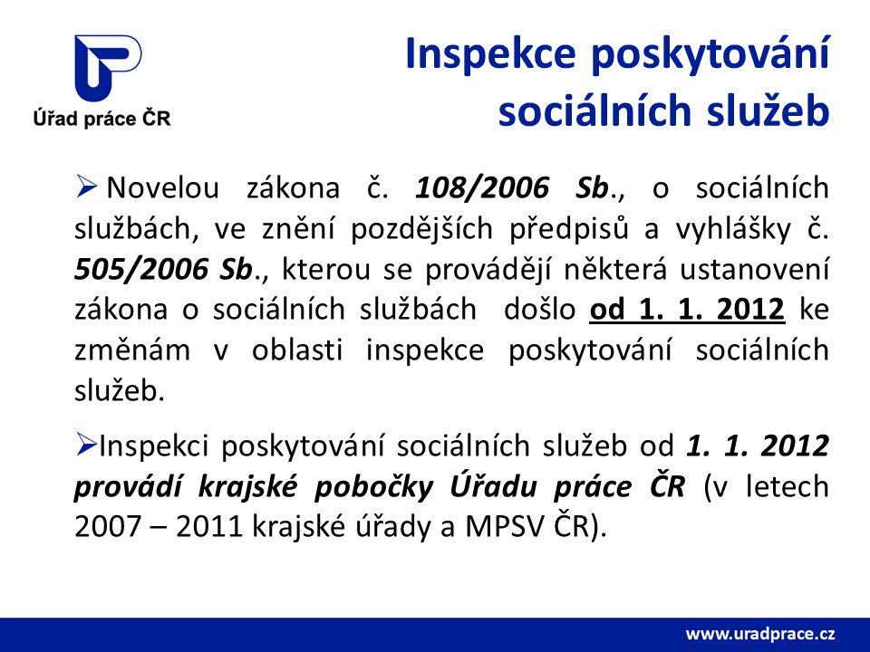Inspekce poskytování sociálních služeb  Novelou zákona č. 108/2006 Sb., o sociálních službách, ve znění pozdějších předpisů a vyhlášky č. 505/2006 Sb
