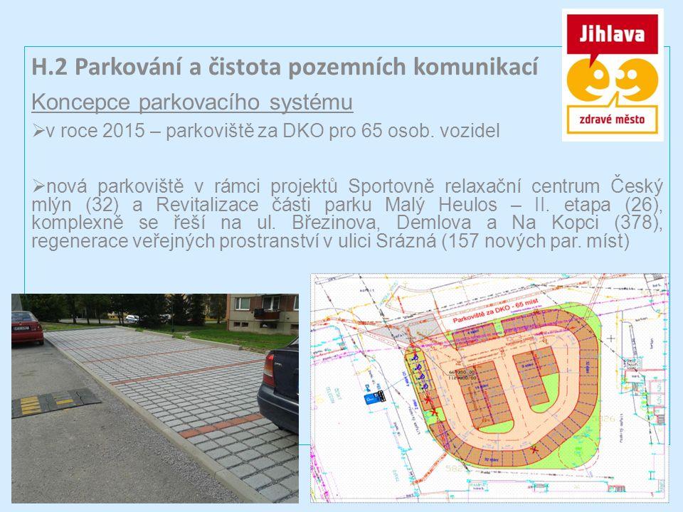 H.2 Parkování a čistota pozemních komunikací Koncepce parkovacího systému  v roce 2015 – parkoviště za DKO pro 65 osob.